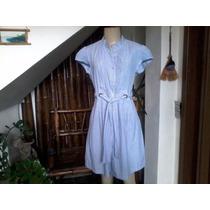 Vestido De Algodão,listras Vertical Azul/branco(bela Musa) M