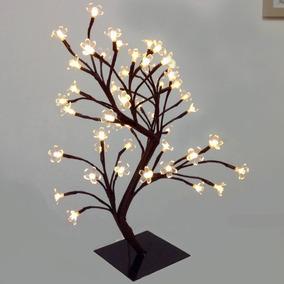Árvore Abajur Led Decoração Luminária Amarelo Branco Quente