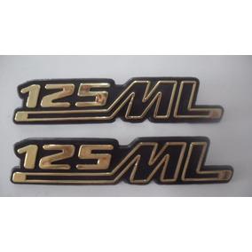 Emblema Tampa Lateral Ml 125 1979 A 1982 Bolinha Preto - Par