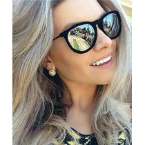 Oculos Veludo Preto Lente Prata Espelhada Feminino