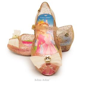 Anabela Infantil Laço 3 Cortes - Ouro Gliter - Miss Miss