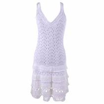Vestido Feminino Tricot Curto Crochê Renda Lindo Verão 2017