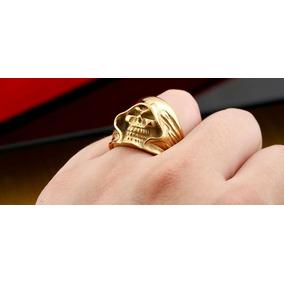 Anel Skull - Aço Inox Banhado Ouro- Tamanho 9/23