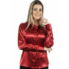 Camisa Vermelha Albertina - Cetim C/ Elastano-pimenta Rosada
