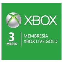 Membresia Xbox Live 3meses Gold, Envio Gratis E Inmediato!!!