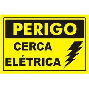 10 Placa Advertência: Perigo Cerca Elétrica Plástico