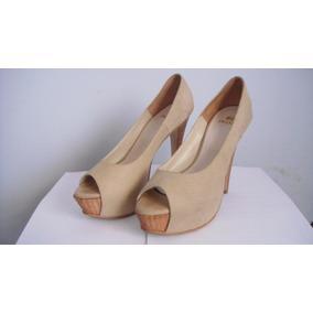 Zapatos De Taco Beige