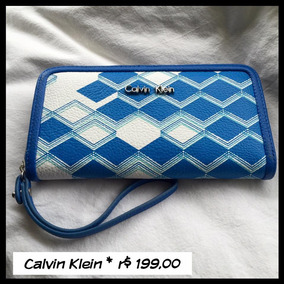 Carteira Feminina Em Couro Ck Calvin Klein Azul Com Branco