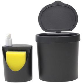 Kit Pia Com 2 Peças Preto Lixeira + Dispenser 600 Ml - Coza