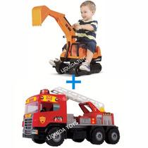 Escavadeira Giant + Caminhão Super Bombeiro Promoção