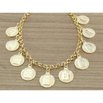 Bracelete Pulseira Feminina 10 Dez Mandamentos Folheada Ouro