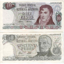 Argentina Lote Billetes Ley 18188 $ 1 A 100.000