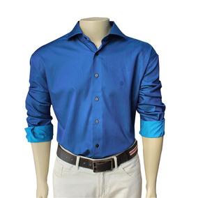 Camisa Azul Social Masculina Cetim Algodão Egípcio