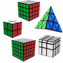 Kit Cubo Mágico 2x2x2, 4x4x4, 5x5x5, Mirror Blocks, Pyraminx