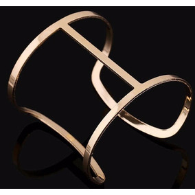 Bracelete Pulseira Dourado Aberto E Grande N1