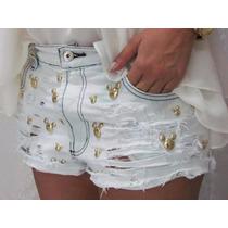 Short Jeans Customizado Destroyed Feminino Mickey Minnie