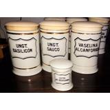 Frascos Antiguos Farmacia Porcelana Tapa Madera Detalle Oro