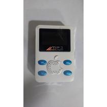 Mini Mp3 Player Novo Branco Com Azul 2gb 5.3x3,6
