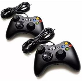 Kit 2 Controle Feir Xbox 360 Pc Com Fio - Frete Grátis