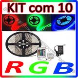 Kit Com 10 Fita Led 5m Rgb Auto Adesiva + Controle + Fonte