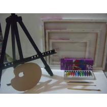 Set Kit Pintura Acrilica Artistica Completisimo Ideal Niños