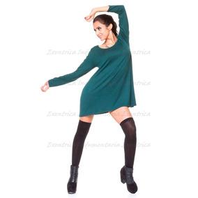 Vestido Acampanado-bobo-ebase-amplio De Lycra Viscosa-verde