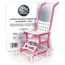 Carrinho De Boneca Bebê Brinquedo Rosa E Branco . 9121