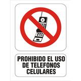 Cartel Prohibido El Uso De Tel. Celulares 15x25 Alto Impacto