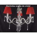 Araña Colgante De Vidrio 3 Luces Con Caireles(apta Led)