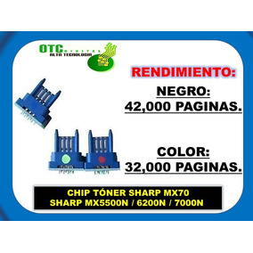 Chip Toner Sharp Mx70 Mx5500n 6200n 7000n (b/c/m/y)