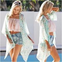 Saída De Praia Kimono Floral Linda- Promoção 2017