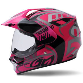 Capacete Pro Tork Squad Vision Cross Motocross Trilha Rosa