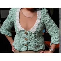 Saco, Sweater, Pullover Tejido Y Puntillas Al Crochet T-008