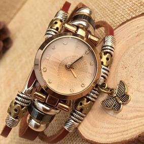 Lote 10 Pzs Reloj Vintage Cuero Genuino Mujer Moda Mariposa