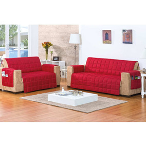 Kit 2 Protetores Sofa:2 E 3 Lugares Matelase Vermelho-rosdry