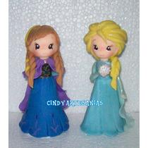 Adorno Torta Frozen Ana Y Elsa 15 Cm Alto Porcelana Fria
