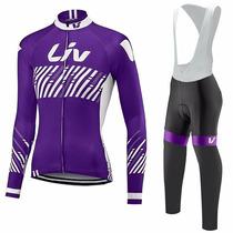 Uniforme Ciclismo Liv 2017 Morado Dama, Jersey + Pants Bib