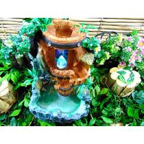 Fonte Ornamental Água Cascata Jardim Decorativa Cristal Led