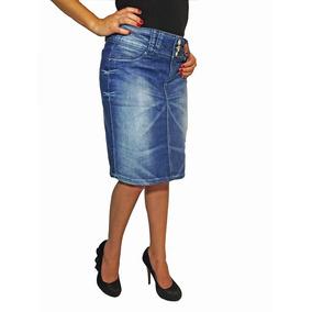 Promoção Saia Jeans Evangélica Com Bordado Mix Jeans