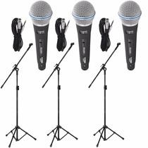Kit 3 Microfone Profissionais + 3 Pedestais Suportes + Cabos