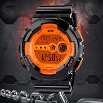 Relógio Skmei Digital Preto E Laranja Com Led Laranja