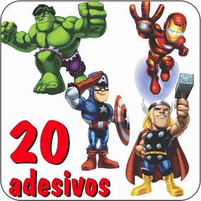20 Adesivos Decorativos Herois Liga Justiça Vingadores