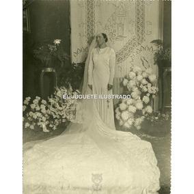 Fn15 Antigua Foto Novia C1930 Casamiento Vestido