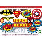 Kit Imprimible Candy Bar Super Heroes Comic Historieta Tarje