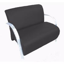 Poltrona Dupla Cadeira Dois Lugares Suede Recepção Preto