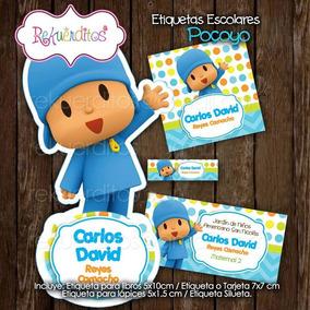 Kit Imprimible Editable Etiquetas Escolares Pocoyo