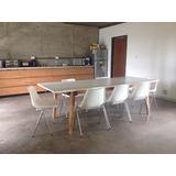 Mesa Moderna Mueble Laqueado C Vidrio Mesa Para 8 Personas