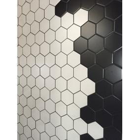 Ceramico Subway Exagono Moderno 10.4x11.8 Blanco Negro Choco