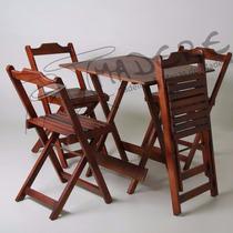 Kit De Mesas E Cadeiras De Madeira Dobrável Para Bar