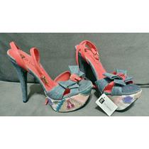 Sapato Salto Alto Di Cristalli Jeans Laranja 35